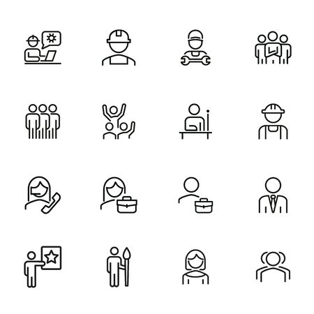 Labor icons. Set of line icons on white background. Technician, consultant, call center. Job concept. Vector illustration can be used for topic like business, professional occupation, employment