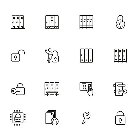 Lockers line icon set. Gym, school, key, safe. Lock concept. Can be used for topics like safety, security, privacy 向量圖像