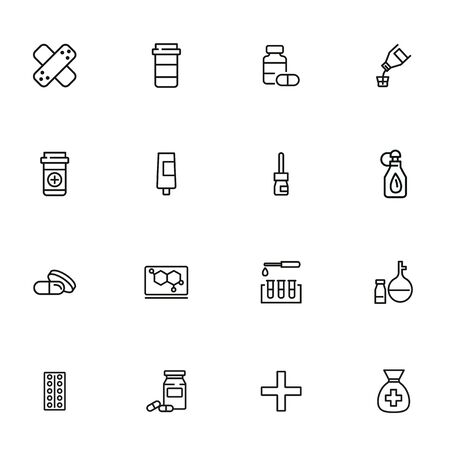 Pharmacological products icon set. Drugstore concept. Vector illustration can be used for topics like apothecary, pharmaceuticals, medicine Illustration