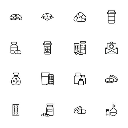 Pharmacy icon set. Drugstore concept. Vector illustration can be used for topics like apothecary, pharmaceuticals, medicine Illustration