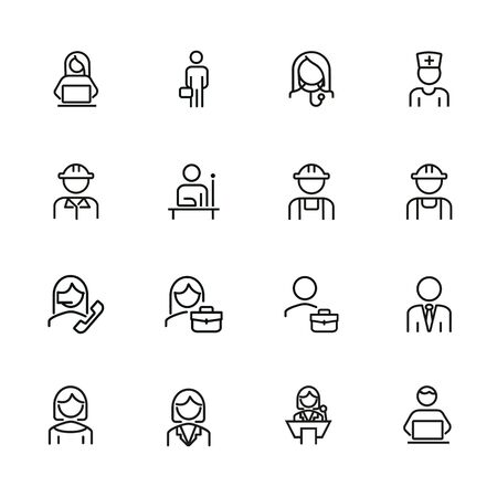Professionals line icon set. Manager, doctor, engineer. Job concept. Can be used for topics like work, occupation, expertise Illustration