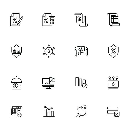 Profit line icon set. Percentage, interest, calculator. Business concept. Can be used for topics like finance, investment, accounting, startup 일러스트