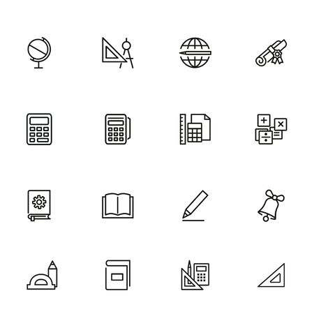 School supplies line icon set. Globe, ruler, pencil. Education concept. Can be used for topics like studying, learning, training
