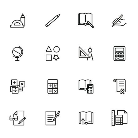 School supplies line icon set. Ruler, calculator, globe, copybook. Education concept. Can be used for topics like studying, learning, geometry, drawing 일러스트