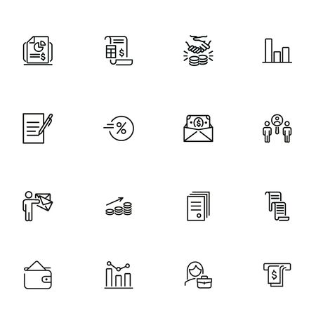 Selling line icon set. Invoice, bill, handshaking, cash. Business concept. Can be used for topics like finance, dealing, contract, partnership