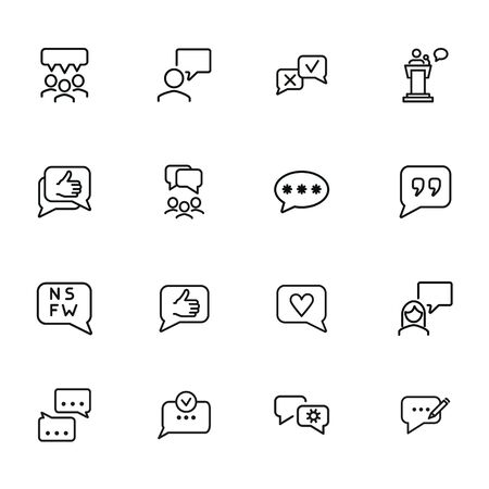 Speech bubbles line icon set. Chat, dialogue, discussion. Communication concept. Can be used for topics like online chat, internet, social media