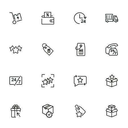 Shopping services line icon set. Coupon, sale, buying. Shopping concept. Vector illustration can be used for topics like profit, advertising, marketing Фото со стока - 134911903