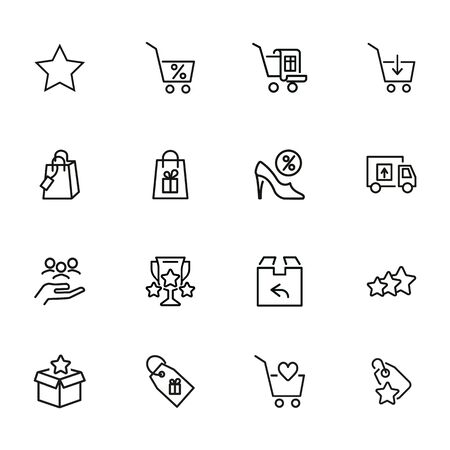 Shopping and delivery icon set. Online store concept. Vector illustration can be used for topics like marketing, delivery service, internet shopping