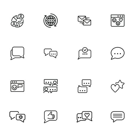 Social media communications line icon set. Set of line icons on white background. Chatting, message, typing. Internet concept. Vector illustration can be used for topics like web, communication Stock Illustratie