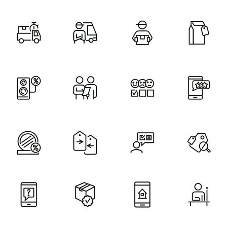 Summer sales icon set. Online store concept. Vector illustration can be used for topics like marketing, delivery service, internet shopping 일러스트