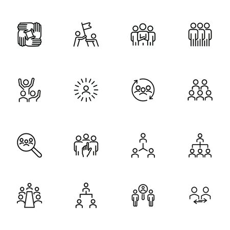 Team line icon set. Staff, success, personnel selection. Teamwork concept. Can be used for topics like friendship, collaboration, working together 矢量图像