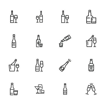 Wine and beer line icon set. Set of line icons on white background. Alcohol concept. Bottle, glass, wine, beer. Vector illustration can be used for topics like bar, alcohol, restaurant