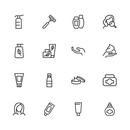 Skin care products line icon set. Cream, shaving stick, face and magnifier glass. Beauty concept. Can be used for topics like beautician, cosmetics, natural ingredients  イラスト・ベクター素材