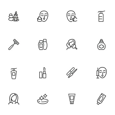 Skin care line icon set. Injection, lipstick, manicure. Beautician concept. Can be used for topics like beauty salon, makeup, cosmetology  イラスト・ベクター素材