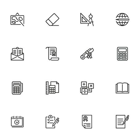Stationery line icon set. Map, ruler, class. Education concept. Can be used for topics like university, school supplies, college
