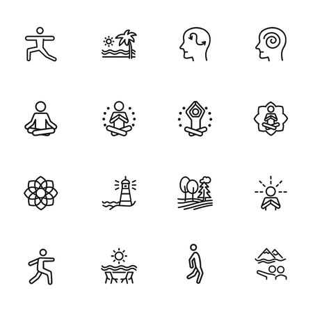 Meditation and yoga line icon set. Health, wellness, leisure. Buddhism concept. Can be used for topics like spirituality, peace, relaxation  イラスト・ベクター素材