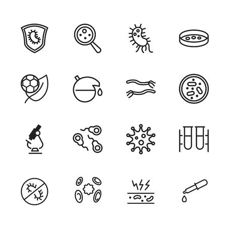 Microbiology icon. Set of line icon on white background. Laboratory equipment, cell, bacterium. Exploration concept. Vector illustration can be used for topics like biology, science, research