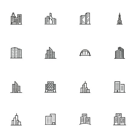 Modern architecture line icon set. Apartment house, skyscraper, office, arc bridge. Urban life concept. Can be used for topics like big city, downtown, business center 일러스트