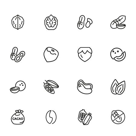 Nuts line icon set. Peanut, hazel nut, almond. Food concept. Can be used for topics like vegan diet, organic nutrition, health care Illustration