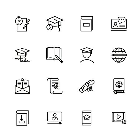 Online learning line icon set. Book, webinar, diploma. Education concept. Can be used for topics like studying, teaching, graduation