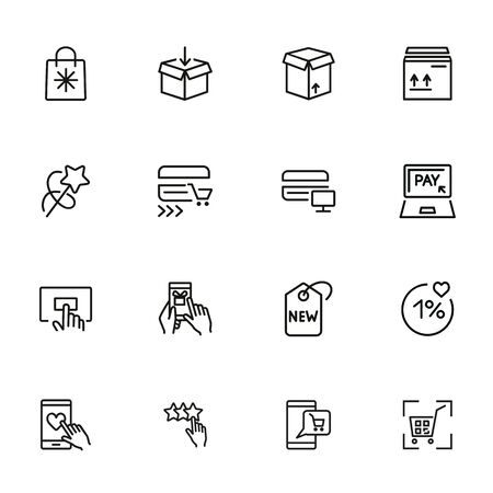 Online payment line icon set. Set of line icons on white background. Shopping, carton box, payment. Vector illustration can be used for topics like internet, shopping Çizim
