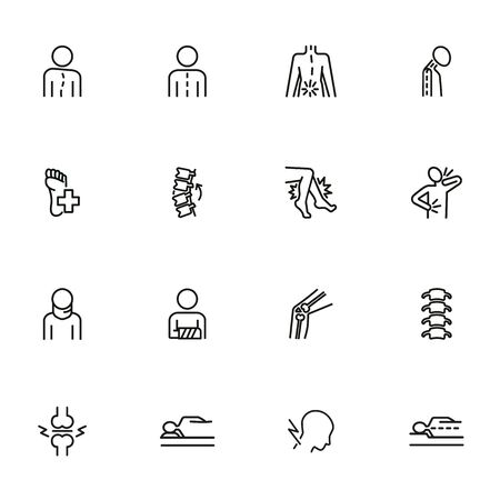 Orthopedics icon set. Line icons collection on white background. Spine, bone, fracture. Medicine concept. Can be used for topics like healthcare, diagnosis, osteoporosis