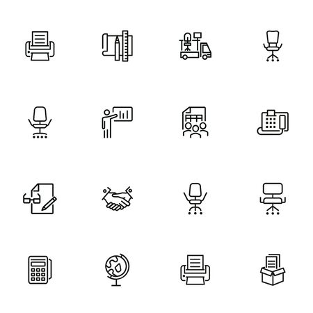 Office icons. Set of line icons on white background. Handshake, fax machine, office moving. New business concept. Vector illustration can be used for topics like business, partnership, management