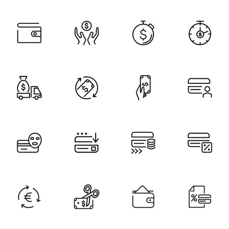 Money and currency icons. Set of line icons on white background. Credit card, coin, dollar. Finance concept. Vector illustration can be used for topics like economy, banking, finance Ilustrace