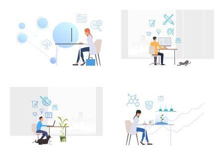 Professionals at workplaces set. Analyst, graphic designer, microbiologist at work. Flat vector illustrations. Business, occupation, job concept for banner, website design or landing webpage