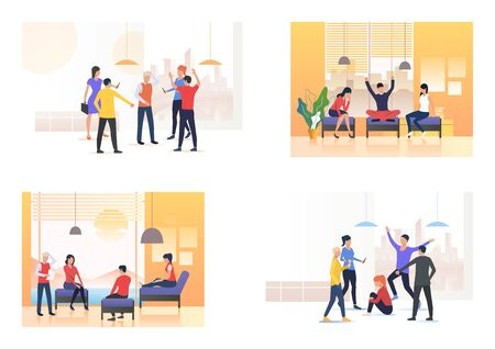Informal talk and bullying set. Group mocking mate, friends sitting on couches and chatting. Flat vector illustrations. Communication, aggression concept for banner, website design or landing webpage Illustration