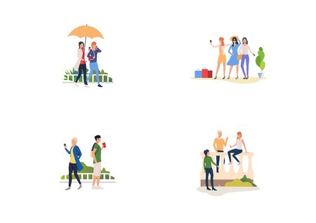 Leisure time outdoors set. Friends walking together, doing shopping, chatting. Flat vector illustrations. Communication, leisure concept for banner, website design or landing web page Stock Illustratie