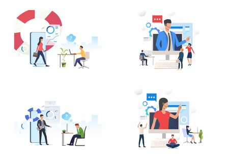 Online consulting set. Consultants giving advice from device screens. Flat vector illustrations. Business, coaching, internet support concept for banner, website design or landing web page