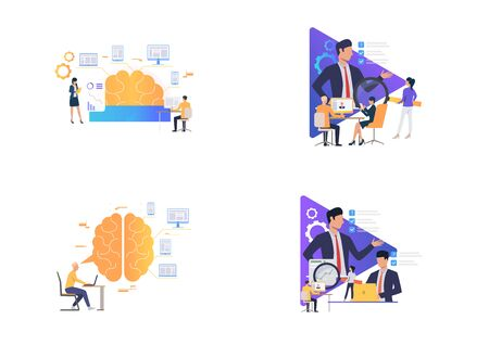 Working on new ideas set. Businesspeople analyzing efficiency, watching online training. Flat vector illustrations. Business, expertise concept for banner, website design or landing web page