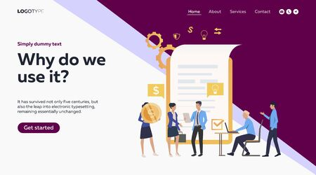 Business partners signing contract. Meeting, document, money, checkmark flat vector illustration. Business or partnership concept for banner, website design or landing web page