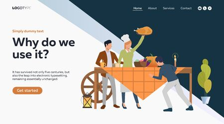 Farmer family celebrating thanksgiving. Table, turkey, pumpkin, fall flat vector illustration. Cooking concept for banner, website design or landing web page Reklamní fotografie - 134899485