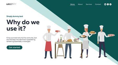 Chefs offering thanksgiving meals. Food, dinner, November flat vector illustration. Cooking concept for banner, website design or landing web page Ilustrace