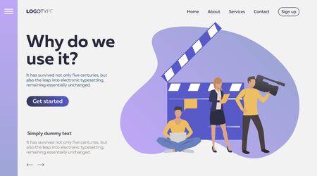 Camera crew making TV show. Media, filming flat vector illustration. Mass media concept for banner, website design, landing web page