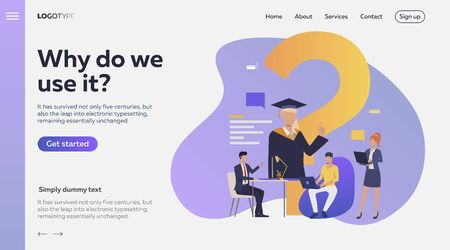 People studying via internet. Faq, online education, inquiry flat vector illustration. Search engine concept for banner, website design or landing web page
