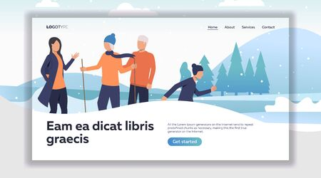 Family enjoying winter activities. Skiing, skating, hiking flat vector illustration. Leisure outdoors or lifestyle concept for banner, website design or landing web page
