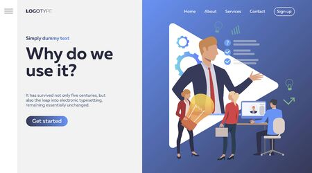 Boss giving direction and people working. Leader, idea, business goals. Business concept. Vector illustration for poster, presentation, new project