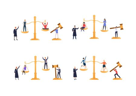 Comparison or inequality set. Employees standing on scale. Flat vector illustrations. Business, competition concept for banner, website design or landing web page