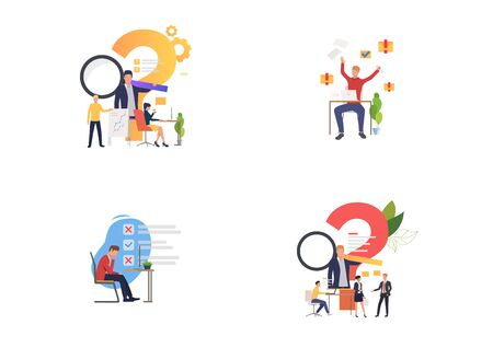 Consulting and support set. Consultant answer questions, managers making mistakes. Flat vector illustrations. Business, help, advice concept for banner, website design or landing web page Illustration