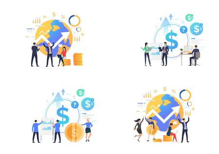 Finance management set. Business people celebrating success, analyzing financial diagrams. Flat vector illustrations. Business, investment concept for banner, website design or landing web page