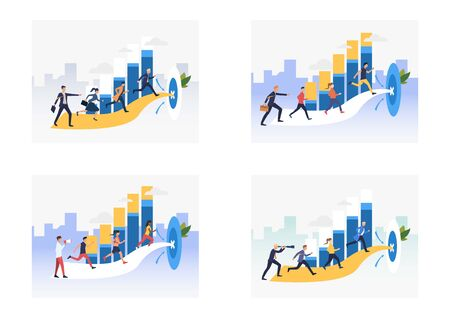 Goal achieving set. Team running to target. Flat vector illustrations. Business, leadership, teamwork concept for banner, website design or landing web page