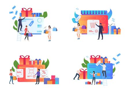 Special offer set. Customers buying goods at sale, paying with credit card. Flat vector illustrations. Business, payment, shopping concept for banner, website design or landing web page
