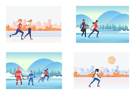 Summer and winter activities set. People roller skating, playing ice hockey. Flat vector illustrations. Hobby, sport, lifestyle concept for banner, website design or landing web page