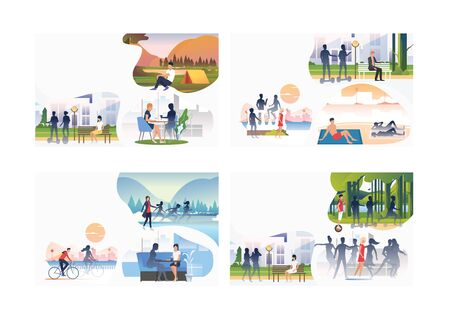 Set of lonely people among shadows. Flat vector illustrations of cartoon characters in crowds. Loneliness concept for banner, website design or landing web page