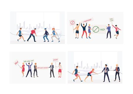 Set of public events illustrations. Flat vector illustrations of people protesting with placards, competing in tug-of-war games. Event concept for banner, website design or landing web page Stock Illustratie