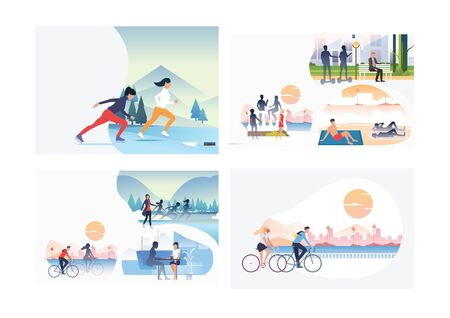 Set of seasonal activities illustrations. Flat vector illustrations of people skating on ice, resting on beach. Activity concept for banner, website design or landing web page