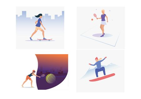 Set of sporty people getting involved in hobbies. Flat vector illustrations of active students with sport equipment. Recreational activity concept for banner, website design or landing web page 向量圖像